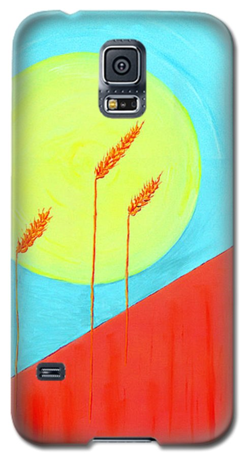 Landscape Galaxy S5 Case featuring the painting Autumn Harvest by J R Seymour