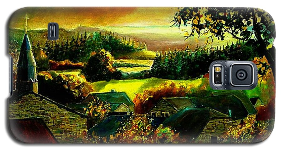 Landscape Galaxy S5 Case featuring the painting Autumn In Our Village Ardennes by Pol Ledent