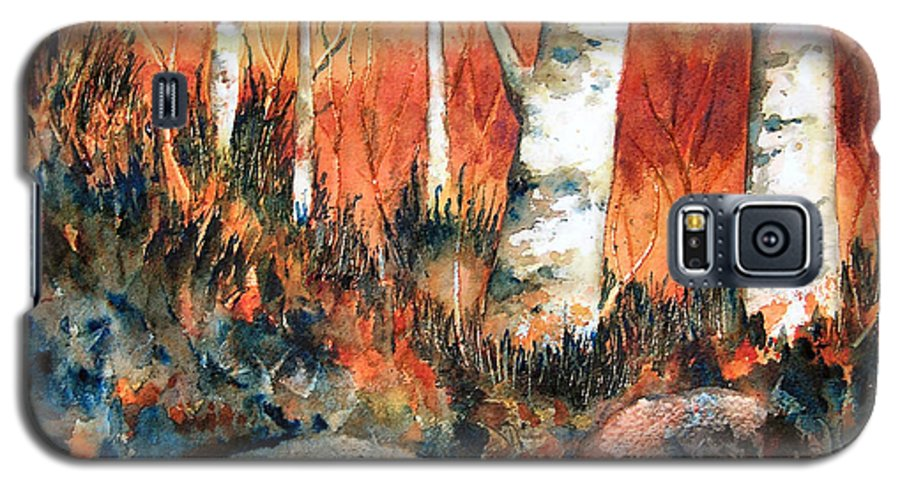 Landscape Galaxy S5 Case featuring the painting Autumn by Karen Stark
