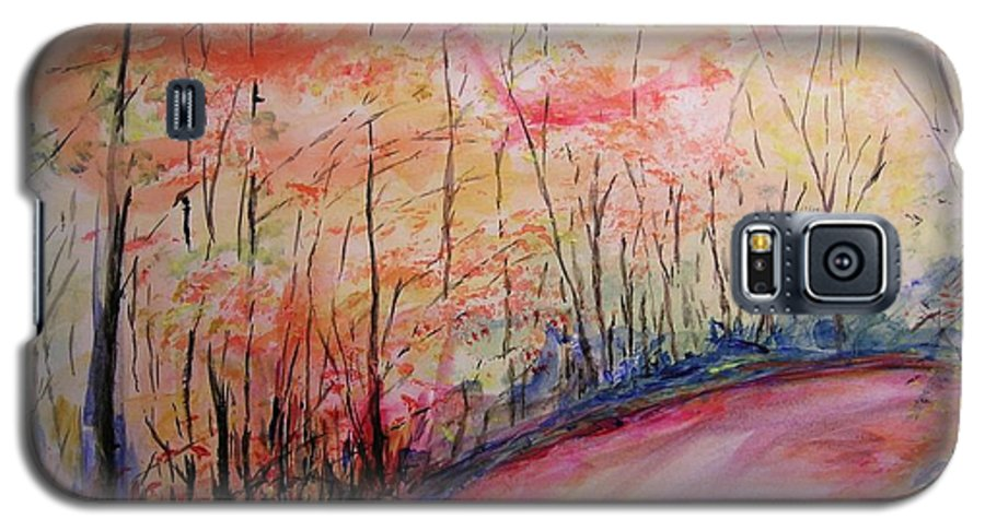 Landsape Galaxy S5 Case featuring the painting Autumn Lane II by Lizzy Forrester