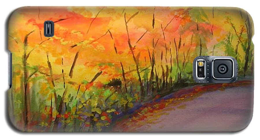 Original Landscape Impressionist Painting Galaxy S5 Case featuring the painting Autumn Lane IIi by Lizzy Forrester
