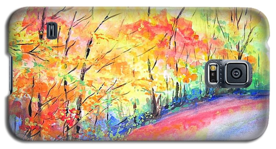 Autumn Galaxy S5 Case featuring the painting Autumn Lane Iv by Lizzy Forrester