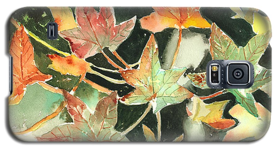 Leaf Galaxy S5 Case featuring the painting Autumn Leaves by Arline Wagner