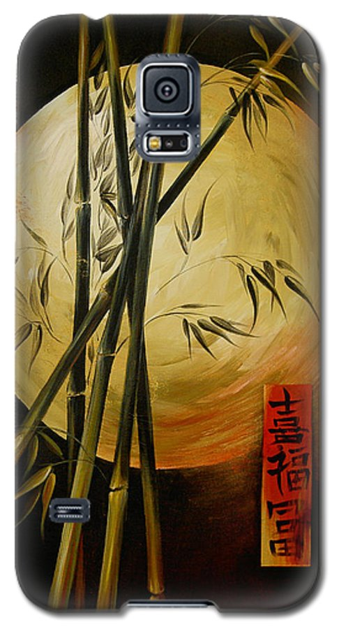 Asian Moon Bamboo Galaxy S5 Case featuring the painting Autumn Moon by Dina Dargo