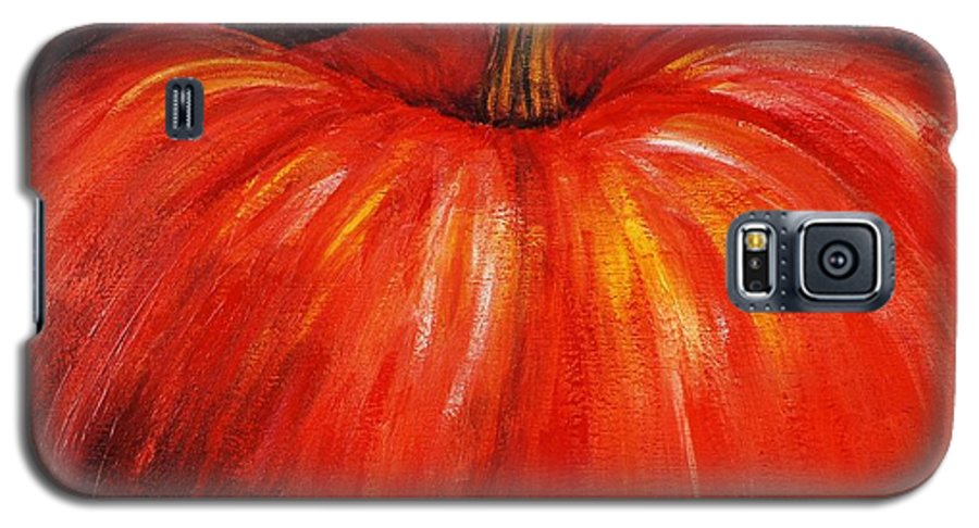 Orange Galaxy S5 Case featuring the painting Autumn Pumpkins by Nadine Rippelmeyer