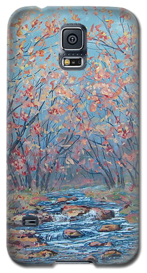 Landscape Galaxy S5 Case featuring the painting Autumn Serenity by Leonard Holland