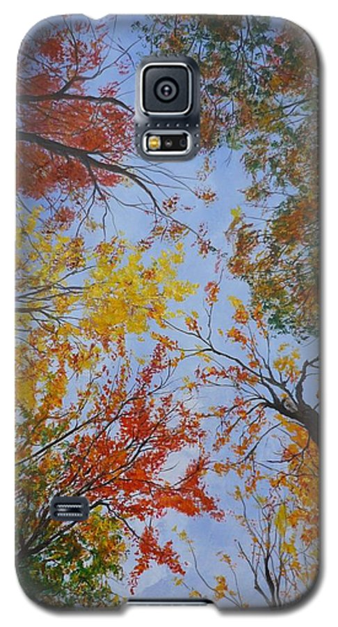 Tree Galaxy S5 Case featuring the painting Autumn Sky by Lizzy Forrester