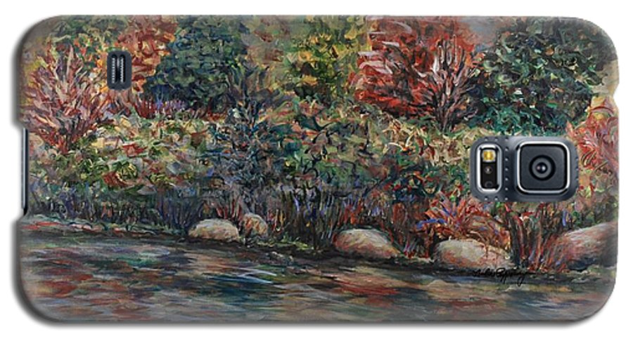 Autumn Galaxy S5 Case featuring the painting Autumn Stream by Nadine Rippelmeyer