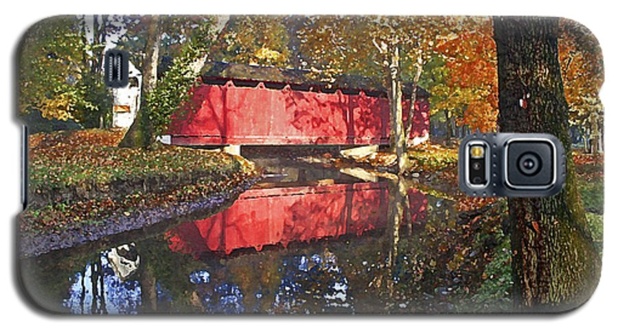 Covered Bridge Galaxy S5 Case featuring the photograph Autumn Sunrise Bridge by Margie Wildblood