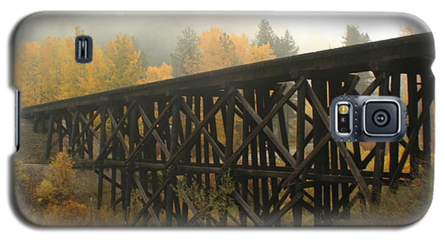 Trestle Galaxy S5 Case featuring the photograph Autumn Trestle by Idaho Scenic Images Linda Lantzy