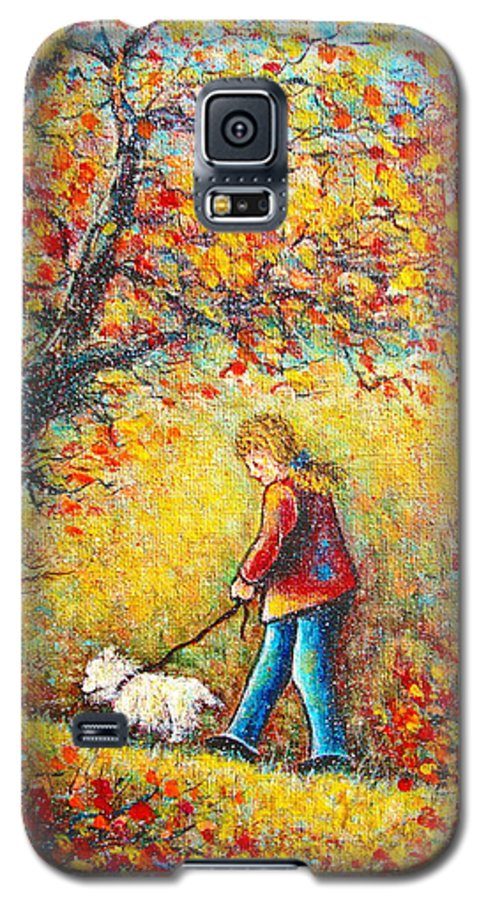 Landscape Galaxy S5 Case featuring the painting Autumn Walk by Natalie Holland