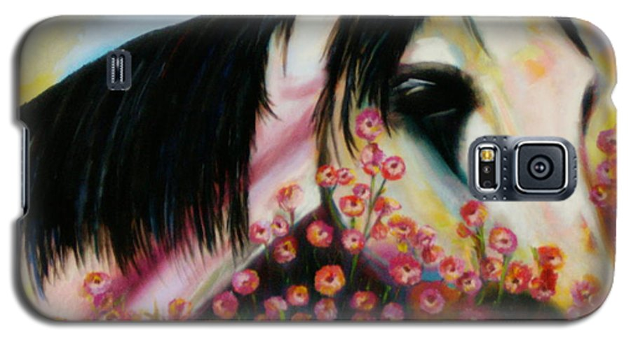 Horse Galaxy S5 Case featuring the painting Avalon's Rose by Sidra Myers
