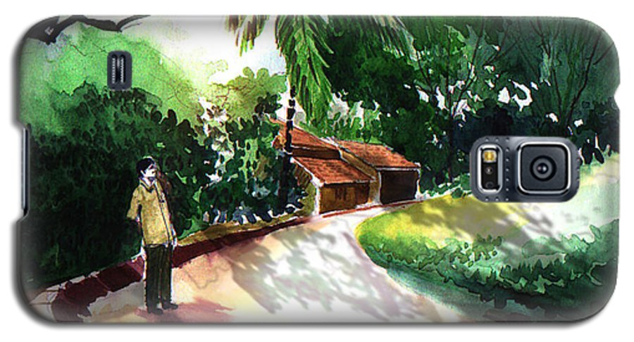 Water Color Watercolor Landscape Greenery Galaxy S5 Case featuring the painting Awe by Anil Nene