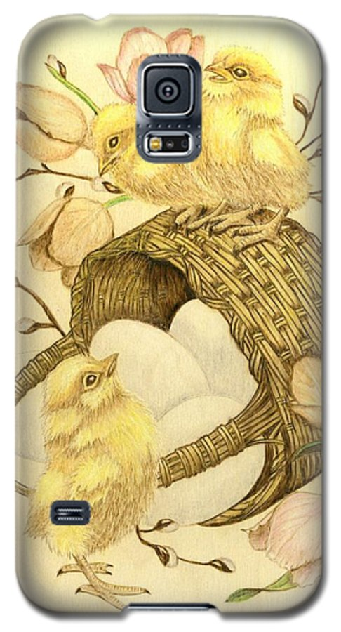 Chicks Galaxy S5 Case featuring the pyrography Baby Chicks by Danette Smith