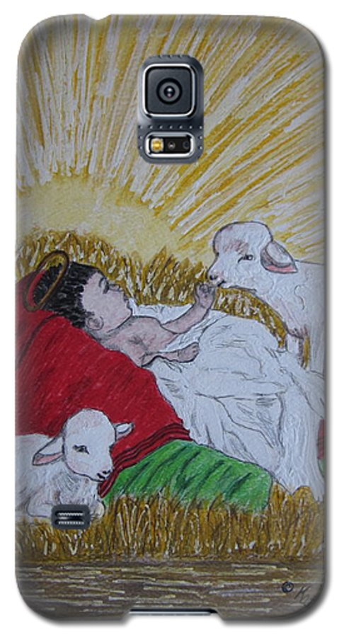 Saviour Galaxy S5 Case featuring the painting Baby Jesus At Birth by Kathy Marrs Chandler