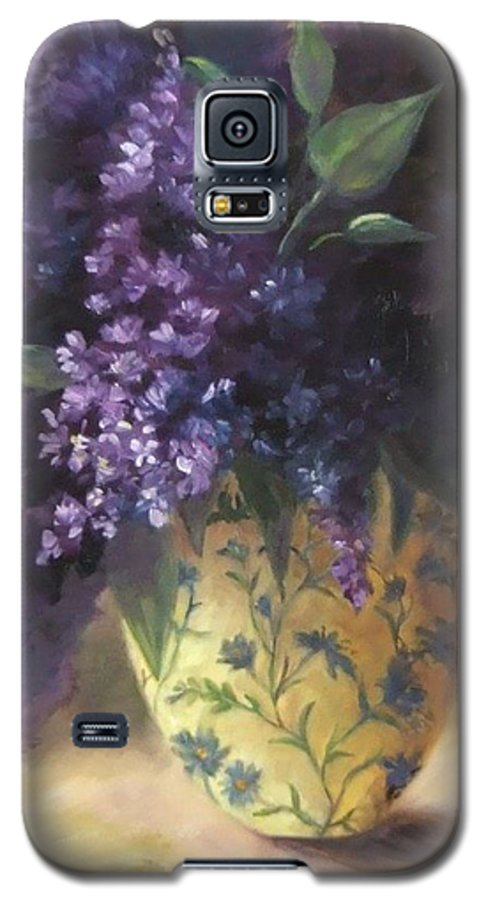 Lilac Still Life Galaxy S5 Case featuring the painting Backlit Bouquet by Ruth Stromswold