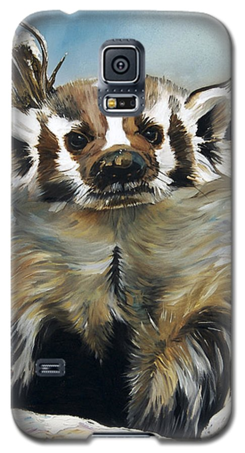 Southwest Art Galaxy S5 Case featuring the painting Badger - Guardian Of The South by J W Baker