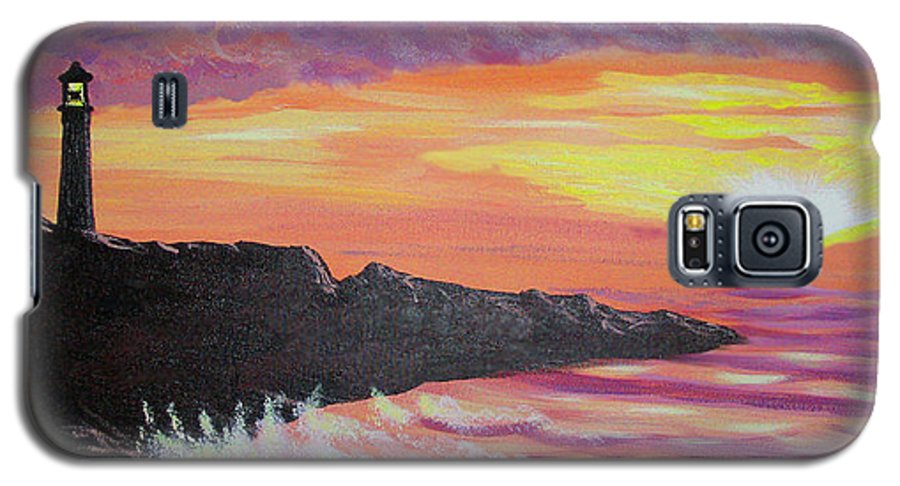 Seascape Galaxy S5 Case featuring the painting Bahia At Sunset by Marco Morales