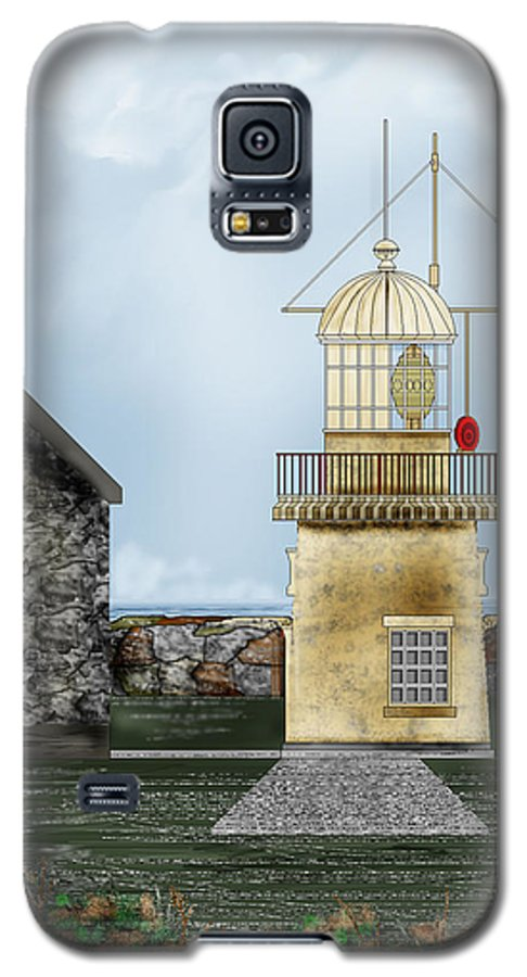 Lighthouse Galaxy S5 Case featuring the painting Ballinacourty Lighthouse At Waterford Ireland by Anne Norskog