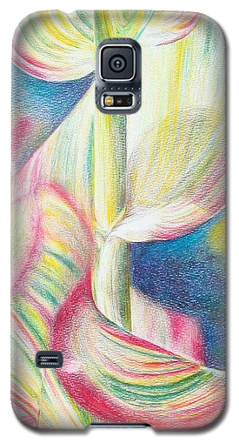 Flower Galaxy S5 Case featuring the painting Bambou by Muriel Dolemieux