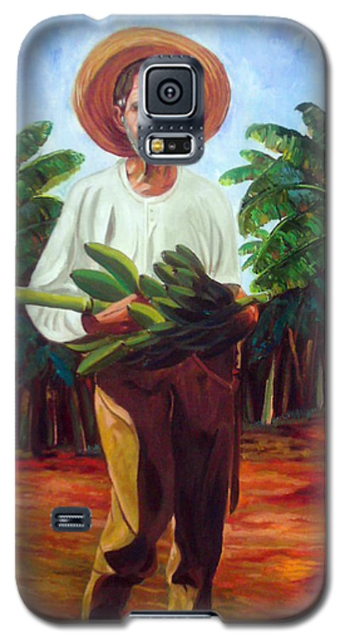 Cuban Art Galaxy S5 Case featuring the painting Banana Farmer by Jose Manuel Abraham