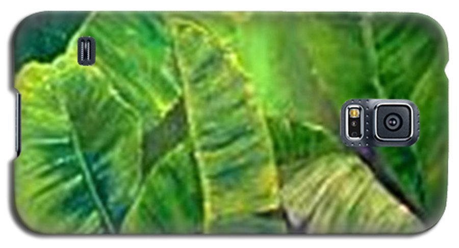 Galaxy S5 Case featuring the painting Banana Leaves by Carol P Kingsley