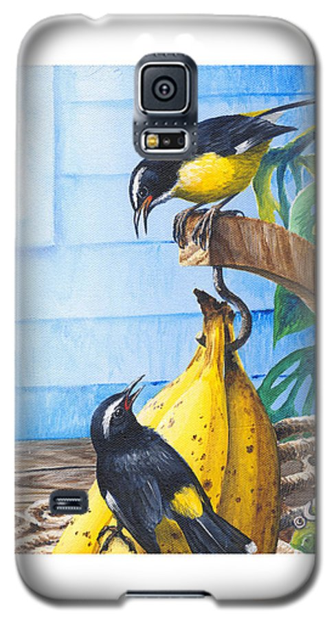 Chris Cox Galaxy S5 Case featuring the painting Bananaquits And Bananas by Christopher Cox