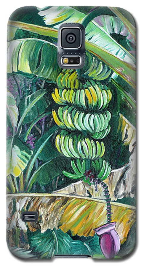 Caribbean Painting Bananas Trees P Painting Fruit Painting Tropical Painting Galaxy S5 Case featuring the painting Bananas by Karin Dawn Kelshall- Best