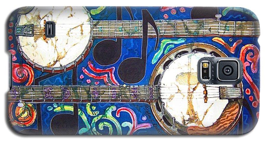 Banjo Galaxy S5 Case featuring the painting Banjos - Bordered by Sue Duda
