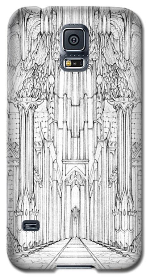 Barad-dur Galaxy S5 Case featuring the drawing Barad-dur Gate Study by Curtiss Shaffer