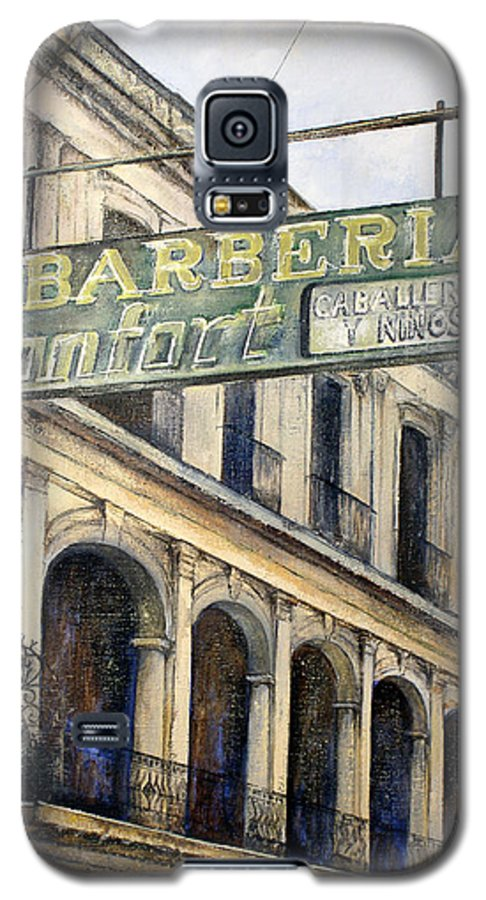 Konfort Barberia Old Havana Cuba Oil Painting Art Urban Cityscape Galaxy S5 Case featuring the painting Barberia Konfort by Tomas Castano