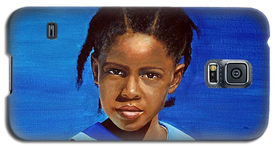 Portrait Galaxy S5 Case featuring the painting Barbuda School Girl by Fiona Jack