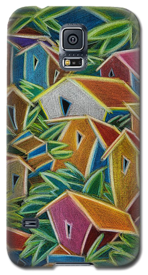Landscape Galaxy S5 Case featuring the painting Barrio Lindo by Oscar Ortiz