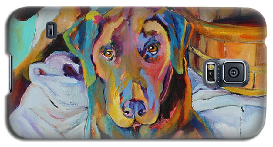 Chocolate Lab Galaxy S5 Case featuring the painting Basket Retriever by Pat Saunders-White