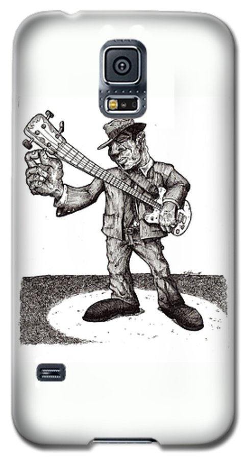 Blues Galaxy S5 Case featuring the drawing Bass by Tobey Anderson