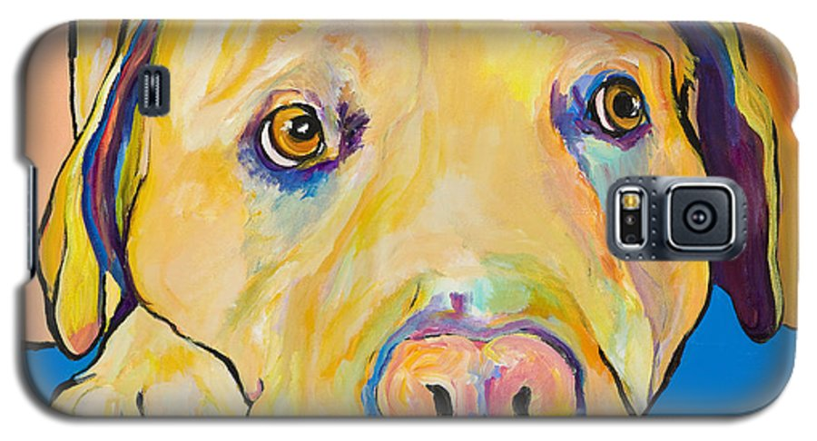 Dog Paintings Yellow Lab Puppy Colorful Animals Pets Galaxy S5 Case featuring the painting Bath Time by Pat Saunders-White