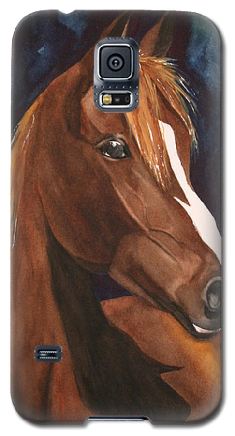 Horse Galaxy S5 Case featuring the painting Bay On Blue 2 by Jean Blackmer