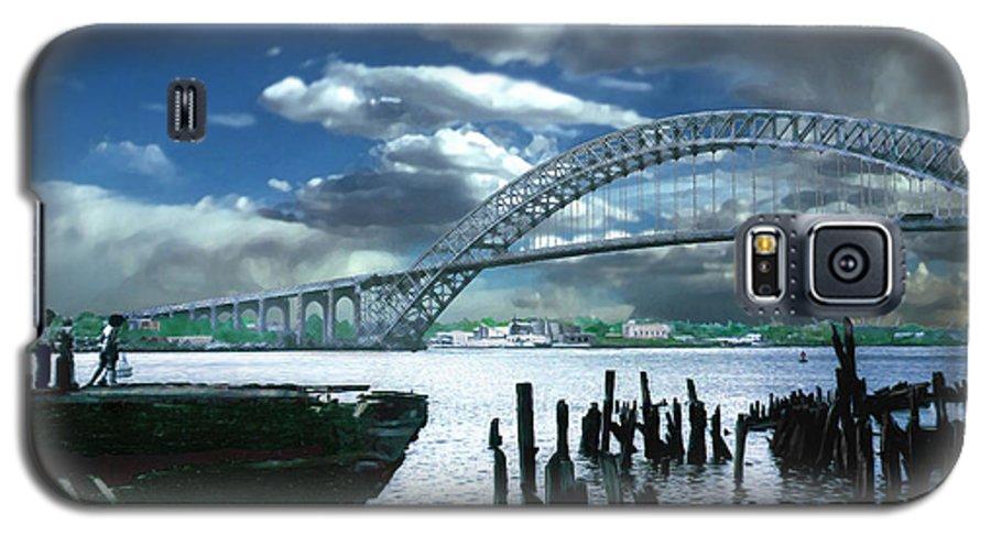 Seascape Galaxy S5 Case featuring the photograph Bayonne Bridge by Steve Karol