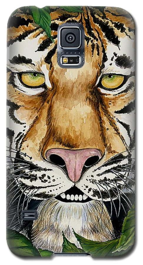 Art Galaxy S5 Case featuring the painting Be Like A Tiger by Carol Sabo