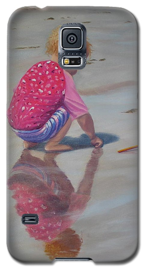 Baby Galaxy S5 Case featuring the painting Beach Baby by Lea Novak