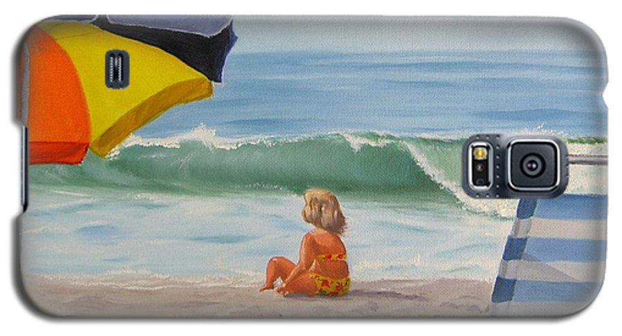 Seascape Galaxy S5 Case featuring the painting Beach Scene - Childhood by Lea Novak