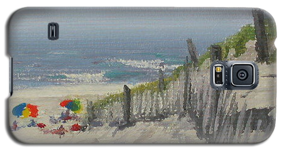 Beach Galaxy S5 Case featuring the painting Beach Scene Miniature by Lea Novak