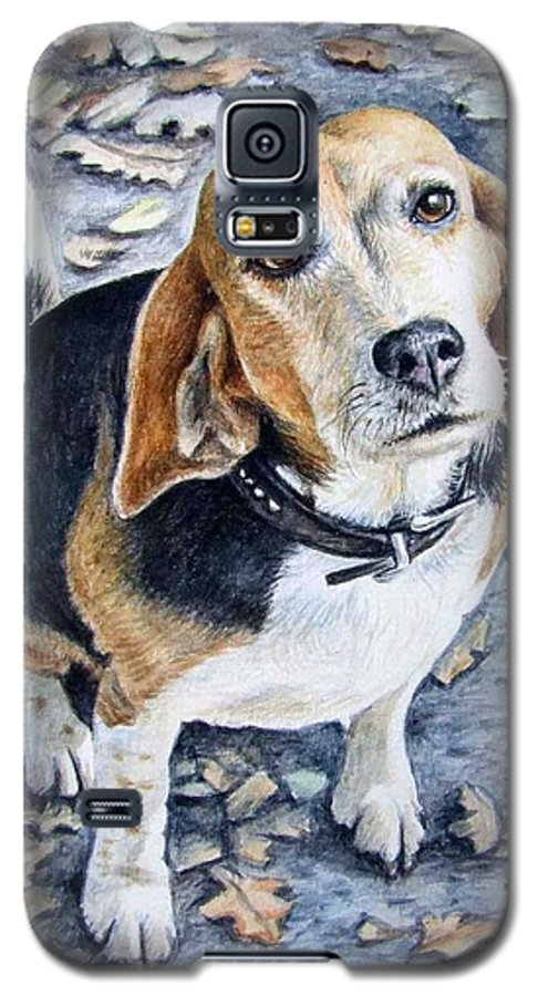 Dog Galaxy S5 Case featuring the painting Beagle Nanni by Nicole Zeug