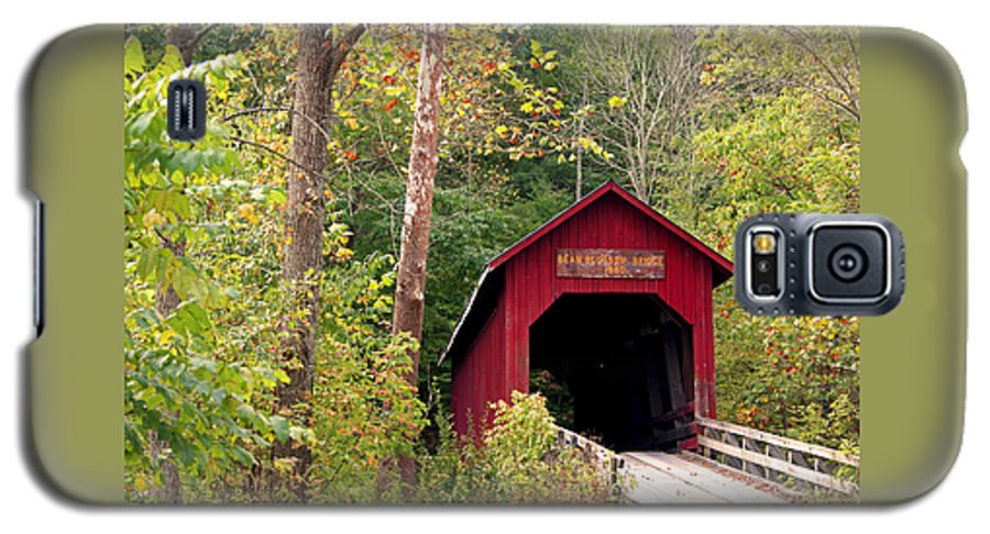 Covered Bridge Galaxy S5 Case featuring the photograph Bean Blossom Bridge II by Margie Wildblood