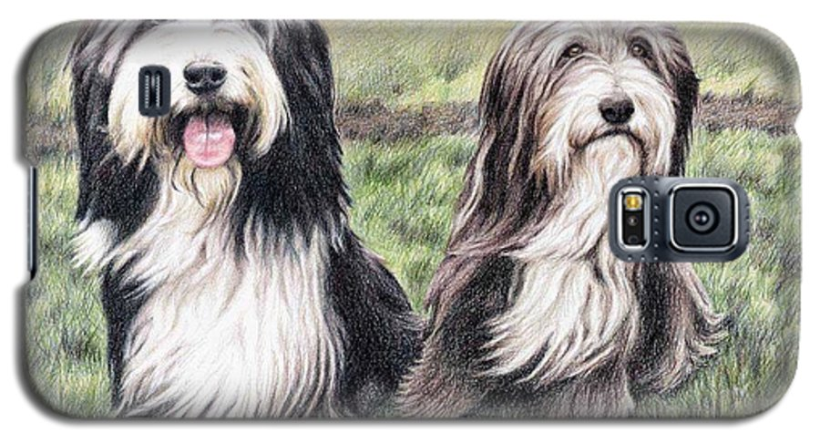 Dogs Galaxy S5 Case featuring the drawing Bearded Collies by Nicole Zeug
