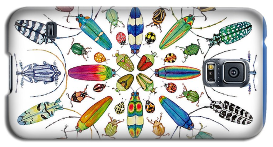 Insects Galaxy S5 Case featuring the painting Beautiful Beetles by Lucy Arnold