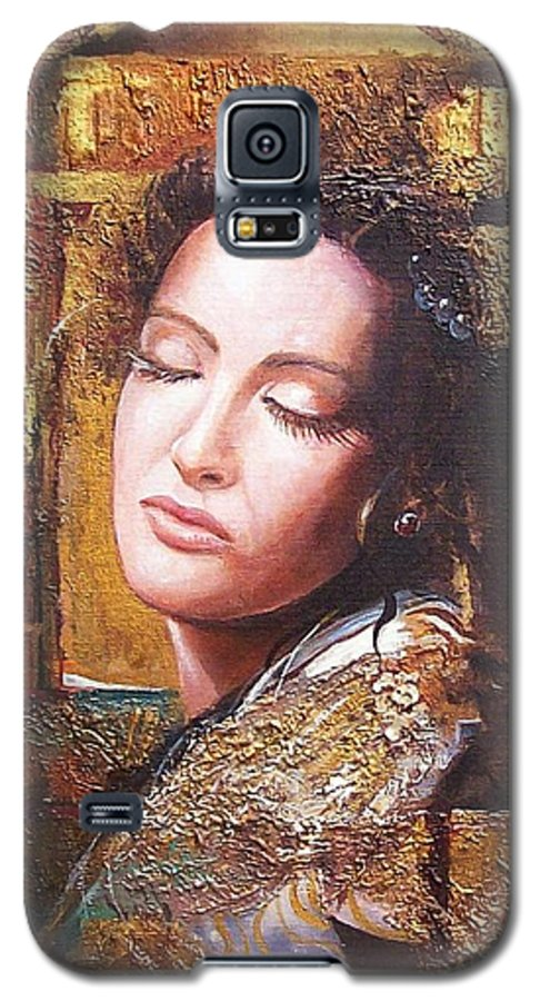 Female Portrait Galaxy S5 Case featuring the painting Because You Are Beautiful by Sinisa Saratlic