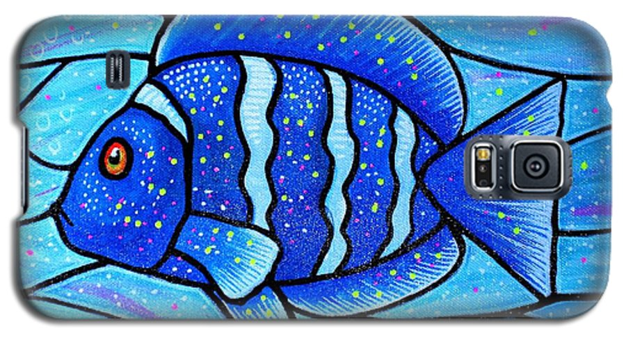 Tropical Fish Galaxy S5 Case featuring the painting Beckys Blue Tropical Fish by Jim Harris