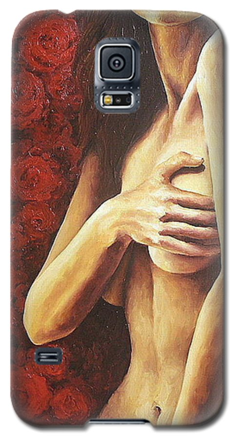 Nude Galaxy S5 Case featuring the painting Bed Of Roses 1 by Trisha Lambi