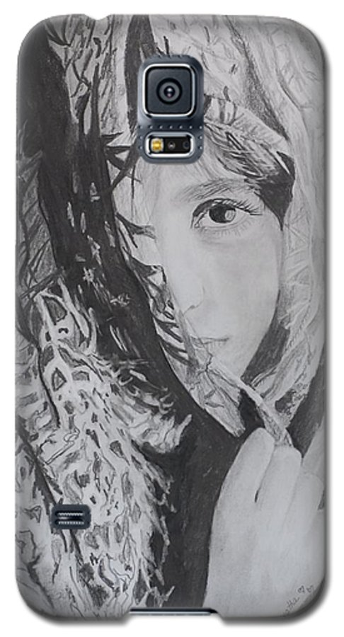 Graphite Galaxy S5 Case featuring the drawing Behind The Veil by Quwatha Valentine
